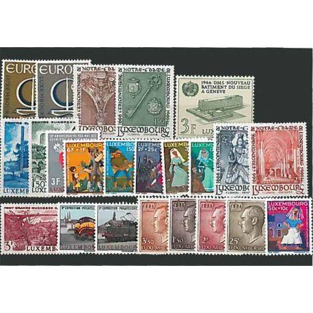 Año completo Sellos nuevos sin charnela 1966 de Luxemburgo