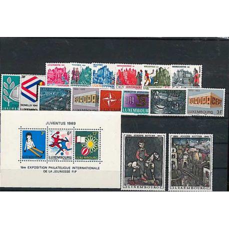 Francobolli nuovo non linguellato Anno completo 1969 del Lussemburgo