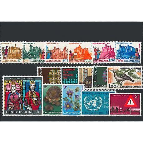Año completo Sellos nuevos sin charnela 1970 de Luxemburgo