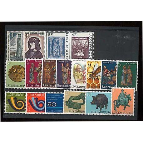 Año completo Sellos nuevos sin charnela 1973 de Luxemburgo