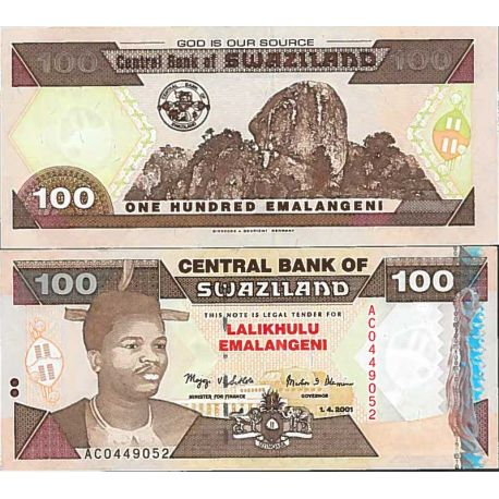 Billets de collection Billet de banque collection Swaziland - PK N° 39 - 100 Lilangeni Billets du Swaziland 33,00 €