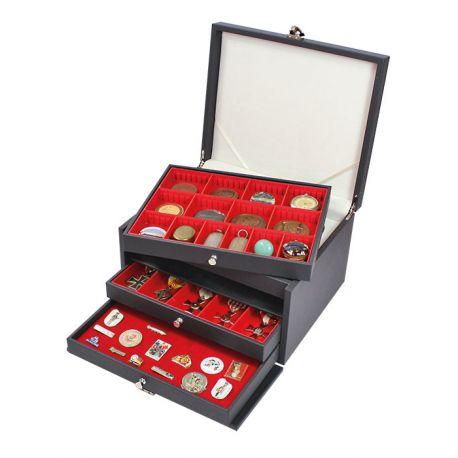 Coffret Lindner Nera Prestige 3 tiroirs pour médailles et bijoux