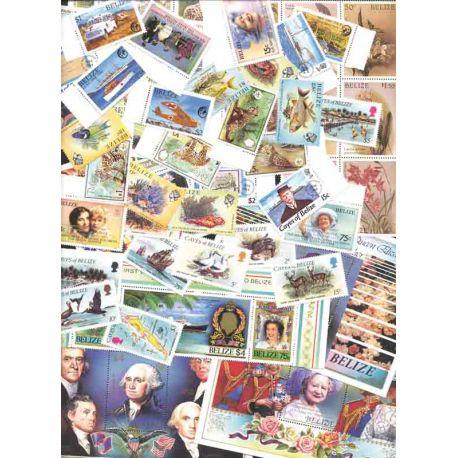 Bella raccolta di 85 francobolli e 11 blocchi qualsiasi nuovo senza cerniera di Belize.