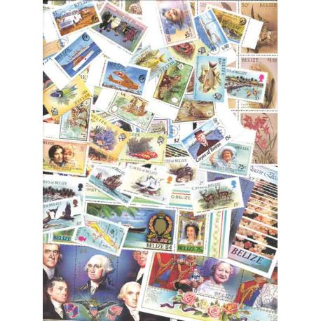 Collection of 85 stamps and 11 new blocks all without hinge of Belize.