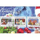 Blocco di 3 francobolli Contes di Natale emesso in Guinea