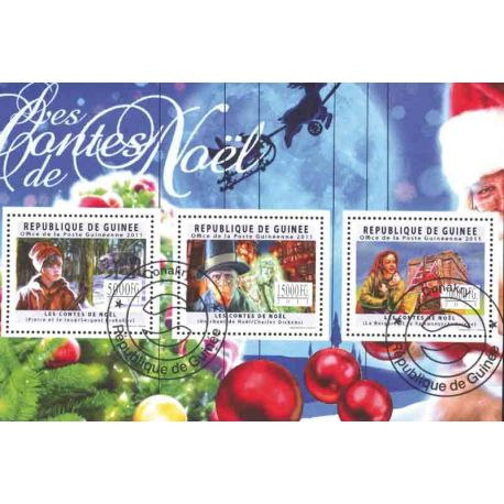Bloque de 3 sellos Cuentos de Noël emitidos en Guinea