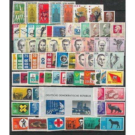 Francobolli nuovo non linguellato Anno completo 1963 della Germania GDR