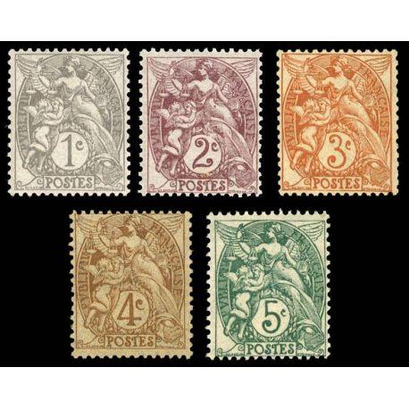 Serie francobolli di Francia N ° 107/111 nuovo con cerniera
