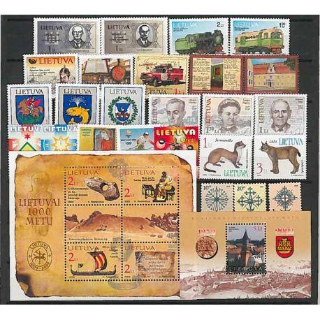 Lituania Año 2002 completa, nuevos sellos sin bisagra