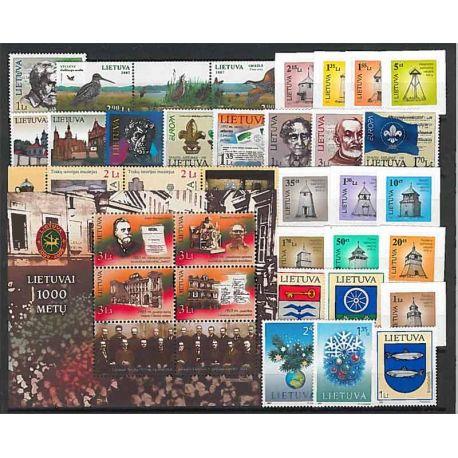 Lituania Año 2007 completa, nuevos sellos sin bisagra
