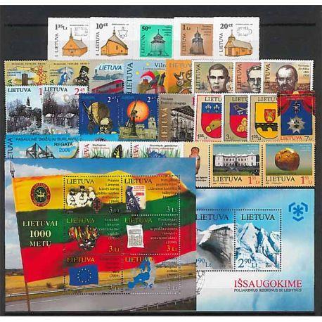 Lituania Año 2009 completa, nuevos sellos sin bisagra