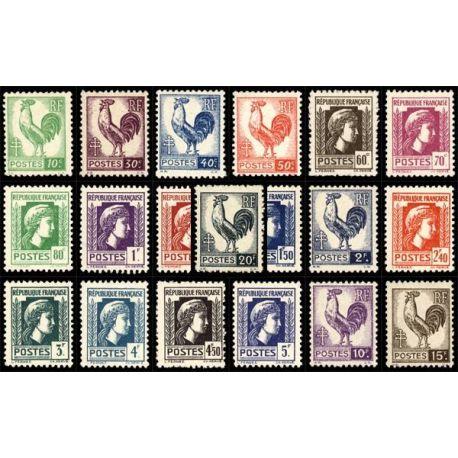 Serie francobolli di Francia N ° 630/648 nuovo con cerniera