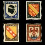 Stamps series of France N° 755/758 unused with hinge