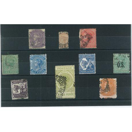 Südaustralien - 10 verschiedene Briefmarken