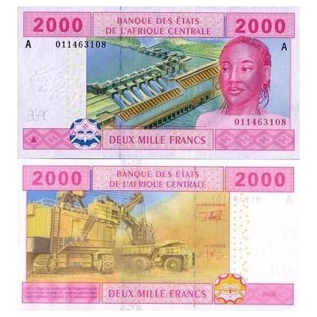 Central Africa Gabon - Pk # 408 - ticket 2000 Francs