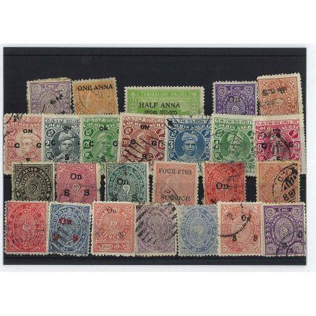 Travancore - 25 verschiedene Briefmarken