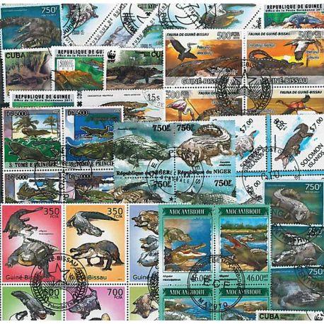 Collection de timbres Crocodiles oblitérés