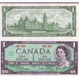 Banknoten Sammlung Kanada Pick Nummer 84 - 1 Peso 1967