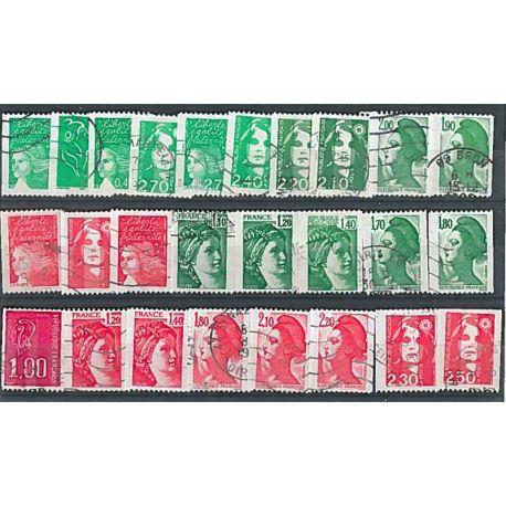 Collection de timbres France oblitérés Roulettes