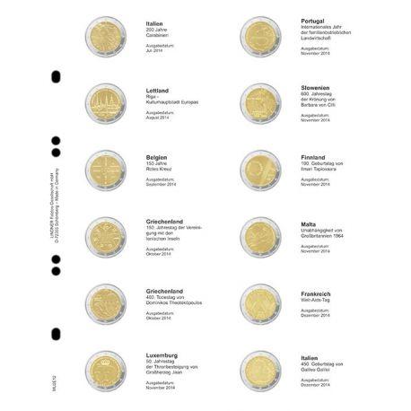 Feuille pour pièces 2 € commémoratives: décembre 2014 - juillet 2015