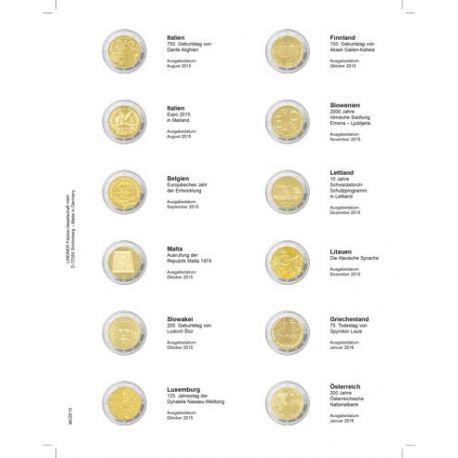 Feuille pour pièces 2 € commémoratives: Aout 2015 - janvier 2016