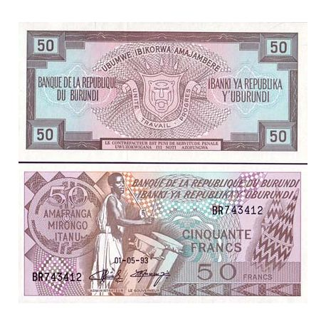 Billets de collection Billet de banque collection Burundi - PK N° 28C - 50 Francs Billets du Burundi 9,00 €