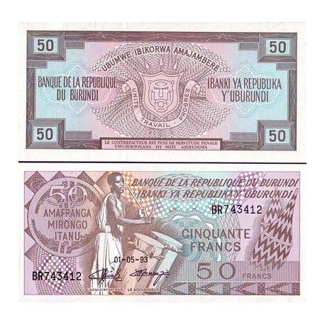 Billete de banco colección Burundi - PK N° 28C - 50 Francos
