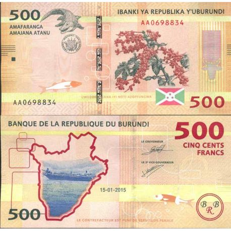 Billete de banco colección Burundi - PK N° 999 - 500 Francos