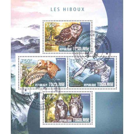 Bloc de 4 timbres Hiboux du Togo