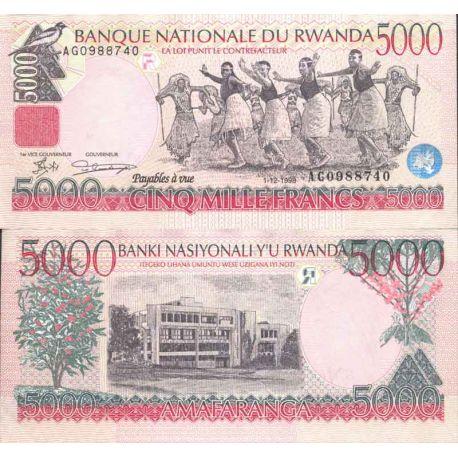 Billete de banco colección Ruanda - PK N° 28 - 5.000 Francos