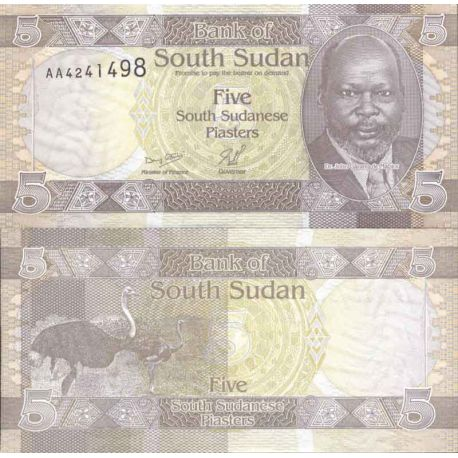Banknote Sudan collection of the South - Pick number 1 - 5 Piastres