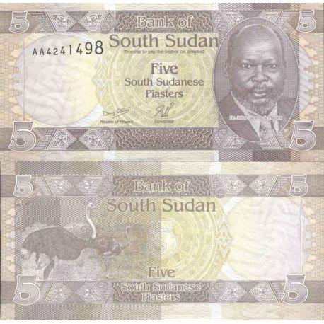 Billet de banque collection Soudan du Sud - PK N° 1 - 5 Piastres