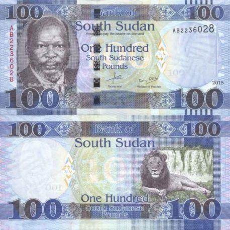 Banconote di banca raccolta Sudan del Sud - PK N° 10B - 100 Pounds