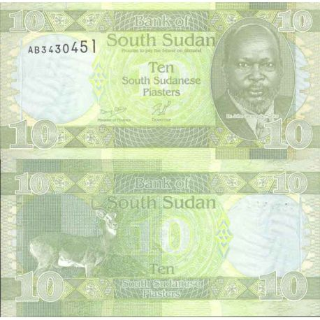 Banknote Sudan collection of the South - Pick number 2 - 10 Piastres