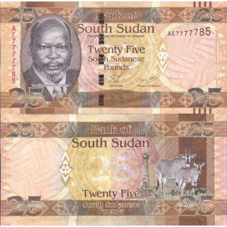 Banconote di banca raccolta Sudan del Sud - PK N° 8 - 25 Pounds