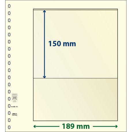 Paquet de 10 feuilles neutres Lindner-T 1 bande 150 mm