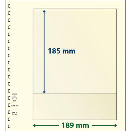 Paquet de 10 feuilles neutres Lindner-T 1 bande 185 mm