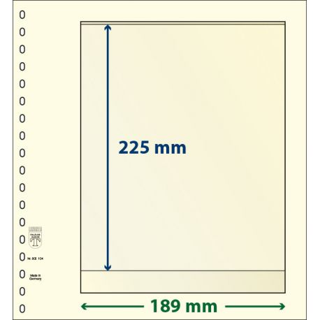 Paquet de 10 feuilles neutres Lindner-T 1 bande 225 mm