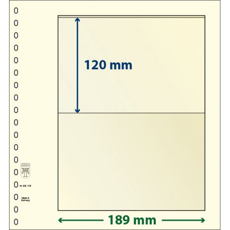 Paquet de 10 feuilles neutres Lindner-T 1 bande 120 mm