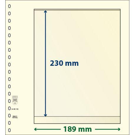 Paquet de 10 feuilles neutres Lindner-T 1 bande 230 mm