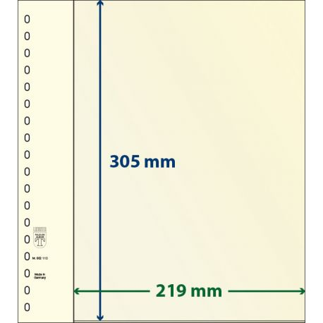Paquet de 10 feuilles neutres Lindner-T 1 bande 305 mm