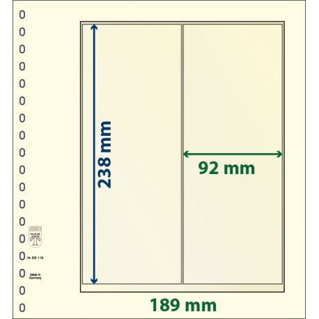 Paquet de 10 feuilles neutres Lindner-T 2 bandes verticales 92mm