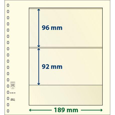 Paquet de 10 feuilles neutres Lindner-T 2 bandes 92 mm et 96 mm