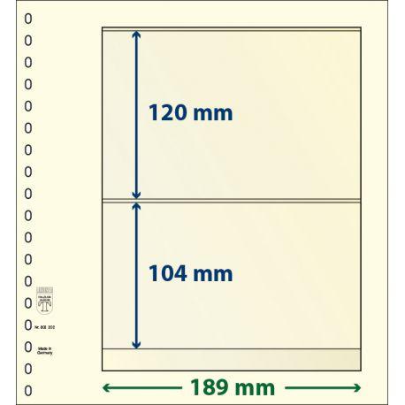 Paquet de 10 feuilles neutres Lindner-T 2 bandes 104 mm et 120 mm