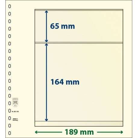 Pakete von 10 neutralen Blättern Lindner-T 2 Bänder 164 mm und 65 mm