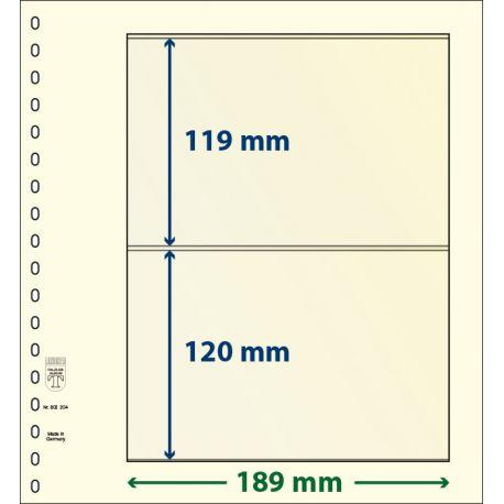 Paquet de 10 feuilles neutres Lindner-T 2 bandes 120 mm et 119 mm