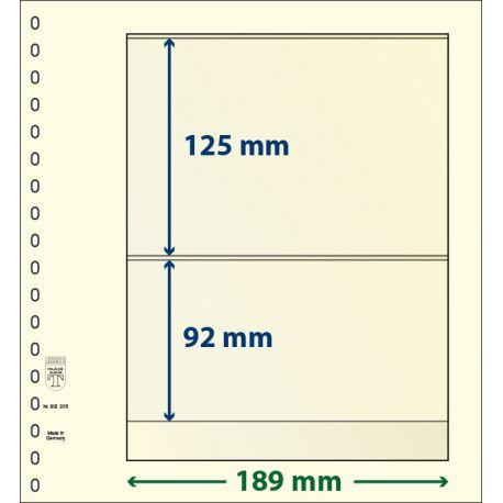Paquet de 10 feuilles neutres Lindner-T 2 bandes 92 mm et 125 mm