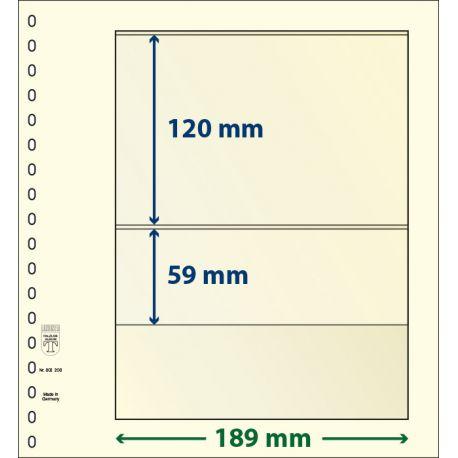 Paquet de 10 feuilles neutres Lindner-T 2 bandes 59 mm et 120 mm