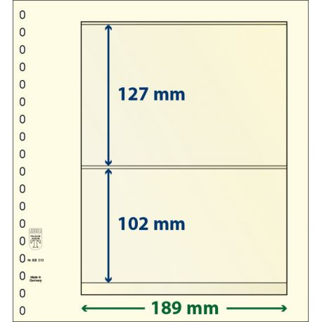Paquetes de 10 hojas neutras Lindner-T 2 bandas 102 mm. y 127 mm.