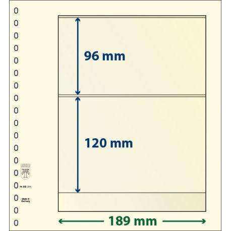 Paquet de 10 feuilles neutres Lindner-T 2 bandes 120 mm et 96 mm